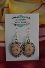 ANTIQUE STYLE BUTTERFLY CAMEO EARRINGS [2/12//267]