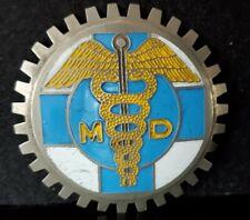 VINTAGE MD MEDICAL DOCTOR LICENSE PLATE TOPPER CADUCEUS BLUE & GOLD