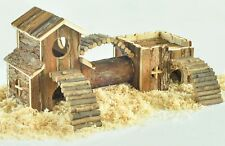 Hamster Small Animal Toy House 2 Story Activity Mice Wooden Climb Gift New