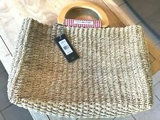 Tommy Hilfiger-Woven Straw Tote Handbag-red&white Checked lining, NWT