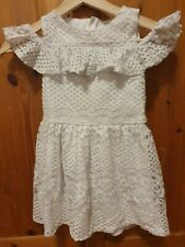 Girls White Lace Dress Size 6-7 Years Skater