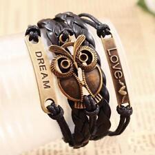 Unisex Black Multi-Layer PU Leather Bangle Bronze Owl Love Wristbands Bracelet
