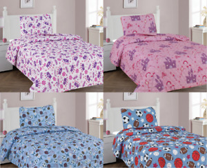 2/3PC PRINTED BED SPREAD QUILTED SET BEDROOM PILLOWCASES NEW DESIGN TWIN FULL