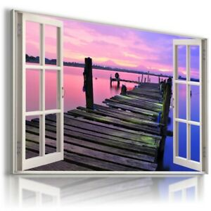 PERFECT SUNSET PIER LAKE 3D Window View Canvas Wall Art W514 UNFRAMED-ROLLED