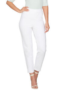 JOAN RIVERS Size XL Pull-on Ankle Pants WHITE