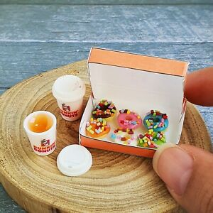 Dollhouse Miniature Food Bakery Dunkin Donuts Doughnut Hot Coffee Cup Set Sweet