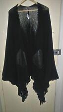 Womens River Island shawl/wrap onesize black 2 side leather pockets 100% acrylic