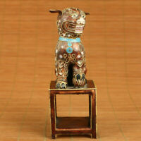 big rare chinese old cloisonne hand painting lion statue figure