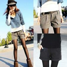Fashion Women Winter Wool Blend Short High Waist Casual Bootcut Short Pants Plus