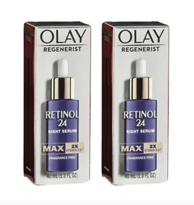 2 Pack Olay Regenerist Retinol 24 Night Serum MAX Fragrance Free 1.3 oz Each