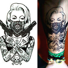 Girl with gun Removable Temporary Tattoo Arm Body Art Tattoo Stickers Waterproof