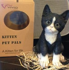 Vivid Arts Pet Pals - Black and White Kitten & Carrier FREE US SHIPPING