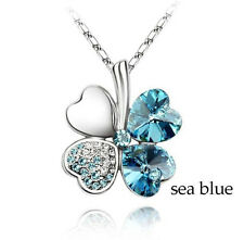 Crystal Necklace Four Leaf Clover Sea Blue Crystal Pendant Snake Chain