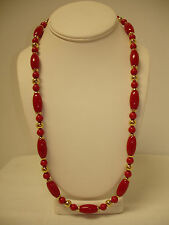 NEW TRIFARI OVAL & ROUND RED & GOLD TONED 24 INCH BEAD NECKLACE NBW