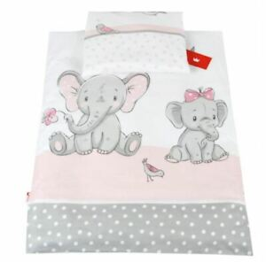 Bedding Set For Baby Stroller Crib Cot Bed Duvet Cover Pillowcase Pink Elephant
