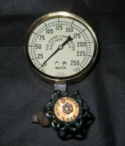 Vintage Marsh Instrument Co. Water Pressure Gauge w/ Ohio Brass Valve & Spigot