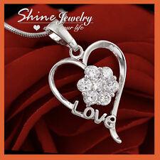 9K WHITE GOLD GF LOVE HEART FLOWER CLUSTER Diamond PENDANT NECKLACE MOTHER GIFT