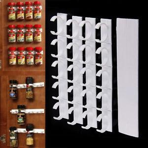 20 Clip Kitchen Spice Gripper Strip Jar Rack Storage Holder Wall Cabinet Door hg
