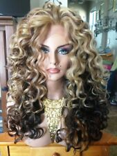 Free Shipping Lace Front  Premium Human Hair Blend Multi Brown Spiral Wig
