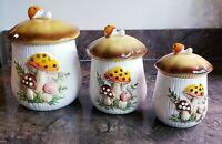 Merry Mushroom Ceramic Canister & Lids Set of 3 Sears Roebuck & Co Vintage Japan