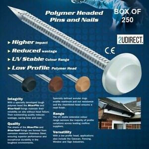 Poly Top Pins for uPVC Fascia Cladding Bargeboard Stainless Steel 30mm 5 Colours