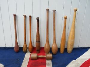 COLLECTION OF 9 ASSORTED ANTIQUE VINTAGE  WOODEN EXERCISE CLUBS SPORTS GYM DECOR