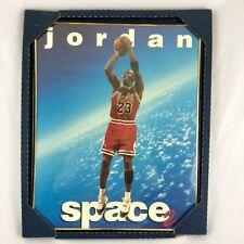 VTG Michael Jordan Space 2 Poster Framed New Old Stock Chicago Bulls 1995 NBA