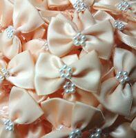 10 x PASTEL PEACH 3.5cm Satin Ready Made Mini Ribbon & Pearl Craft Bows Bow Ties