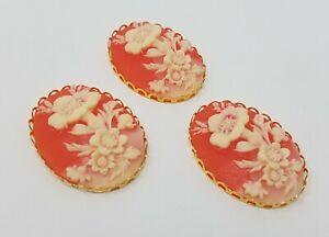 3 pcs 40mm VTG Orange Floral Flower Craft Jewelry Cameos Gold Filigree Settings