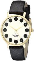 Kate Spade Metro Cream Dial Gold Tone Black Leather Women's Watch 1YRU0107 SD