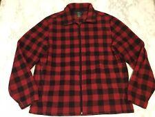 Men's Woolrich Sz L Large Red Black Buffalo Plaid Zip Up Fleece Jacket Coat