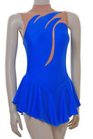 SKATING DRESS  - ROYAL BLUE LYCRA / BODYSTOCKING  SKATING/DANCE DRESS