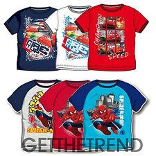 Boys Disney Cars Spiderman Superhero Short Sleeve Cotton Tshirt Tee Top
