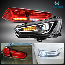 For Mitsubishi Lancer EVO X 08-17 Head Lights & LED Tail Lights With Sequential