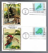 MICRONESIA - POSTAL SERVICE - 1-4 FOUR FDCs - COLORANO SILK - 1984