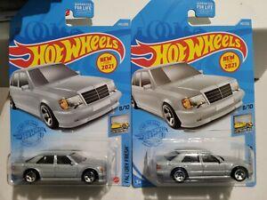 Hot Wheels Mercedes-Benz 500E Silver 145/250 2021 Factory Fresh 8/10 Lot of 2 G1