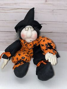 Vintage Folk Art Halloween Pantyhose Witch Doll- 17""