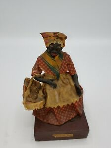 New Orleans Antique 1900s Vargas Wax Figurine, Praline Woman Black Americana