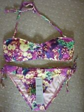 O'NEILL Hyperdry Rose Vert Jaune Floral Bikini 38 C UK 10-12 EUR 36-38 BNWT