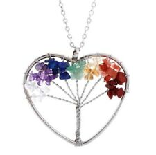 Chakra 7 Healing Stones Tree Of Life Heart Silver Necklace Reiki Pendant Crystal
