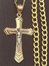 Religious 10k yellow Gold  Jesus Crucifix Cross Pendant Charm Cuban Chain