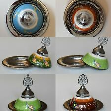 Handmade Turkish Decorative Colourful Paint Silver Bowls with Lid Snack Nibbles