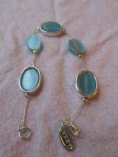 "Next Silver Tone & Blue Glass Oval Bracelet - 7.75"" long"