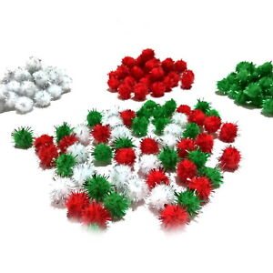 Glitter Tinsel Xmas Pom Poms 15mm Red, White, Green or Assorted Pack 50 to 500