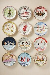 NEW Anthropologie Inslee Fariss Twelve 12 Days Christmas Dessert Plate Holiday