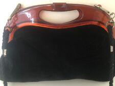 Vintage Black Velvet Clutch/Sac Bandoulière lucite?/Plastique Haut Cadre Rétro