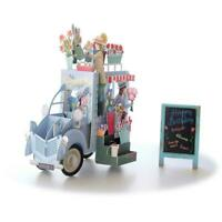 3D Flower Car Greeting Card Creative English Invitations Cards Greeting I3O8