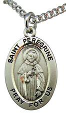 """St Peregrine Sterling Silver 7/8"""" Saint Medal with 20"""" Steel Chain USA Made"""