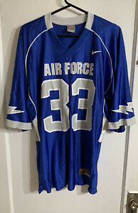 NIKE AIR FORCE FALCONS NCAA Mens Large FOOTBALL JERSEY #33 Royal Blue Silver A1
