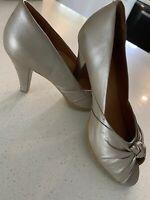 ZIERA Ladies Heels SZ 38 Comfort Sole Leather Mocha Like New Corporate